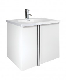 Athena White 2 Door 60cm Wall Hung Vanity Unit and Aida Basin