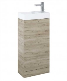 Space 40cm Craft Oak Floor Standing Unit & Cloakroom Basin