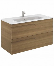 Pravia Walnut 100 cm Wall Hung Vanity Unit and SLIM Basin