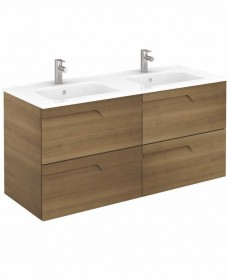 Pravia Walnut 120 cm Wall Hung Double Vanity Unit and SLIM Basins