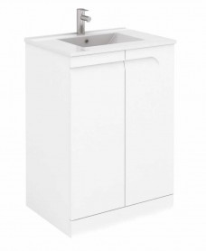 Pravia White 60 cm Floor Standing Vanity Unit and SLIM Basins