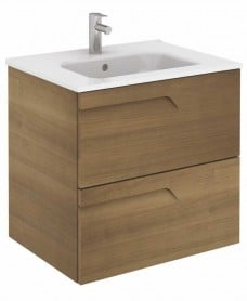 Pravia Walnut 60 cm Wall Hung Vanity Unit and SLIM Basin