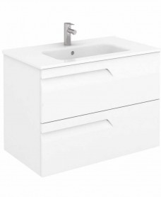Pravia White 80 cm Wall Hung Vanity Unit and SLIM Basin
