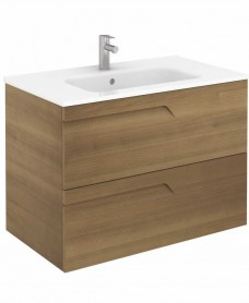 Pravia Walnut 80 cm Wall Hung Vanity Unit and SLIM Basin