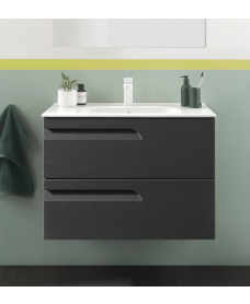 Pravia Nature Grey 80cm Wall Hung Vanity Unit and Idea Basin