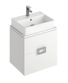 Ava White 55 cm Wall Hung Vanity Unit and BROOK Countertop Basin