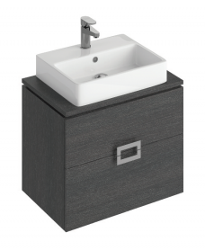 Ava 65cm  Base Unit Dark Wood and Brook Basin