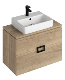 Ava Halifax Oak 80 cm Wall Hung Vanity Unit and BROOK Countertop Basin