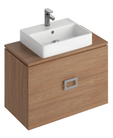 Ava Walnut 80 cm Wall Hung Vanity Unit and BROOK Basin