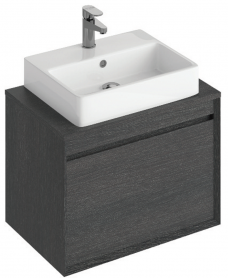 Regine 65cm Base Unit Dark Wood & Brook Basin