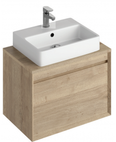Regine 65cm Base Unit  Halifax Oak & Brook Basin