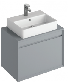 Regine 65cm Base Unit  Pearl Grey & Brook Basin