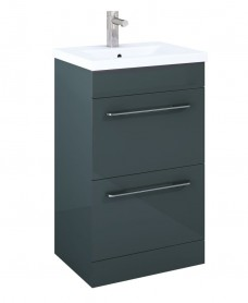Carla 50cm Vanity Unit 2 Drawer Anthracite and Basin