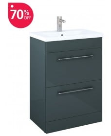 Carla 60cm Vanity Unit 2 Drawer Anthracite and Basin