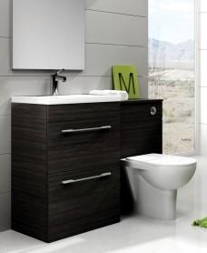 Carla Black Slimline 60cm Combination Unit - 2 Drawer - 1215mm - with Toilet