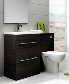 Carla Black Slimline 50cm Combination Unit - 2 Drawer - 1120mm - with Toilet