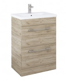 Carla 60cm Vanity Unit 2 Drawer Craft Oak and Basin