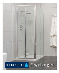 Cello 800 x 800mm Bifold Shower Door - includes 800mm side panel