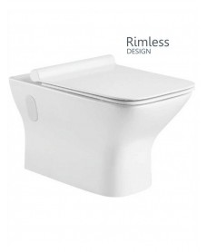 Caymen Wall Hung RIMLESS Toilet with Quick Release Soft Close SLIM Seat