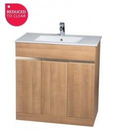 Attica Oak 80cm Vanity Unit & Basin - *REDUCED TO CLEAR