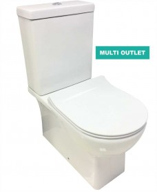 Arizona Fully Shrouded Toilet and SLIM Soft Close Seat - multi outlet