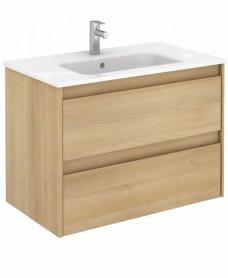 Vichy Oak 80 cm Wall Hung Vanity Unit and Slim Basin