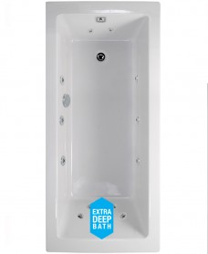 Duo 1700x700 Single Ended 12 Jet Whirlpool Bath - Extra Deep