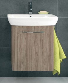 Twyford E100 600 Grey Ash Vanity Unit - Wall Hung