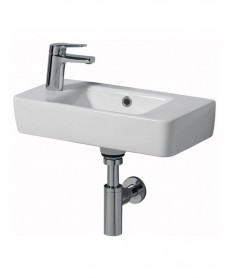 Twyford E200 500 Handrinse Basin - Left Hand Tap, Right Hand Bowl