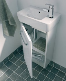Twyford E200 400 White Vanity Unit Wall Hung RH Tap