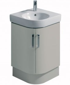 Twyford E200 500 Grey Corner Vanity Unit and Basin - Floor Standing