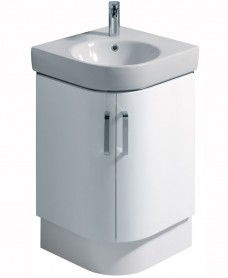 Twyford E200 500 White Corner Vanity Unit and Basin - Floor Standing