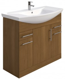 Blanco Walnut 105cm Vanity Unit, Basin