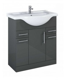 Blanco Gloss Grey 75cm Vanity Unit & Basin - PRICE INCLUDES BASIN AND UNIT