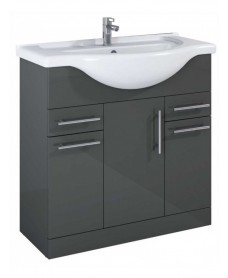 Blanco Gloss Grey 85cm Vanity Unit and Basin - PRICE INCLUDES UNIT AND BASIN