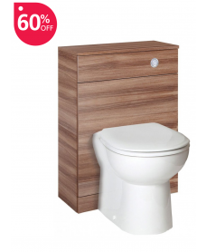 Paola Walnut Back to Wall Slimline Unit with Concealed Cistern - ** 60% Off