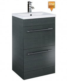 Carla 50cm Vanity Unit 2 Drawer Grey and Basin