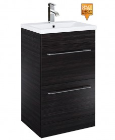 Carla 50cm Vanity Unit 2 Drawer Hacienda Black and Basin