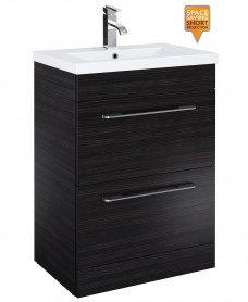 Carla 60cm Vanity Unit 2 Drawer Hacienda Black and Basin