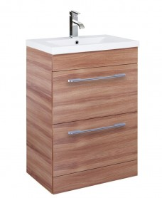 Carla 60cm Vanity Unit 2 Drawer Walnut and Basin