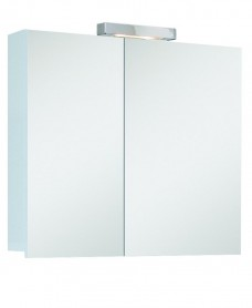 Hampstead 2 Door Mirror Cabinet 60cm White with Light Fitting