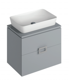Ava Pearl Grey 65 cm Wall Hung Vanity Unit and ENYA Countertop Basin
