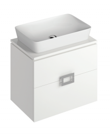 Ava White 65 cm Wall Hung Vanity Unit and ENYA Countertop Basin