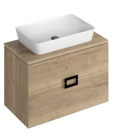 Ava Halifax Oak 80 cm Wall Hung Vanity Unit and ENYA Countertop Basin