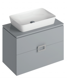 Ava Pearl Grey 80 cm Wall Hung Vanity Unit and ENYA Countertop Basin