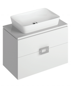 Ava White 80 cm Wall Hung Vanity Unit and ENYA Countertop Basin