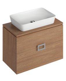 Ava Walnut 80 cm Wall Hung Vanity Unit and ENYA Basin