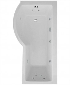 P Shaped 1700 x 900 shower bath Left hand 12 jet bath cw Panel & Bath screen