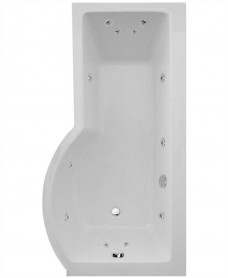 P Shaped 1700 x 900 shower bath Right hand 12 jet bath cw Panel & Bath screen