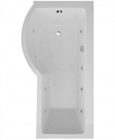 P Shaped 1700 x 900 shower bath Left hand 8 jet bath cw Panel & Bath screen